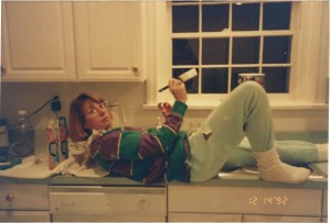 Pam painting the kitchen. Richmond, Virginia, 1992.